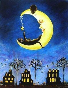 "black cat and crescent moon at night ""Salems Star"" Graffiti Kunst, Illustration Art, Illustrations, Beautiful Moon, Gif Animé, Moon Art, Moon Moon, Cat Drawing, Halloween Art"