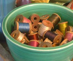 wooden spools of thread and green vintage bowls love BOTH!