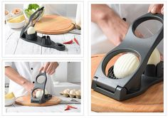 Boiled Egg Slicer Potato Onion Garlic Ginger Mushroom Cutter Kitchen Gadget - Kitchen Gadgets - Ideas of Kitchen Gadgets Kitchen Tools, Kitchen Gadgets, Egg Slicer, Potato Onion, Small Tomatoes, Stainless Steel Kitchen, Cooking Tools, Boiled Eggs, Garlic