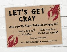 Let's Get Cray -- Printable Digital Crawfish Boil Invitation - Customizable for an Engagement Party, Birthday, Shower, or any other event. #crawfish #crawfishboil #southern #seafood #neworleans