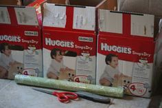 DIY Tutorial- Upcycle Diaper Box with shelf paper or craft paper. Cheaper than fabric.