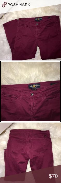 """Lucky Brand Maroon Sofia Capri Jeans Very good preowned condition.  No sign of wear. Size 6/28.  26 """" inseam Lucky Brand Jeans Ankle & Cropped"""