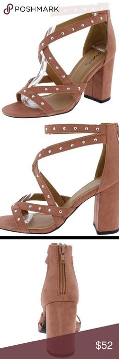 ⭐️ New Arrival DUSTY BLUSH SUEDE STUDDED CROSS STRAPPY HEEL Give your outfit the final touch it needs with these chic edgy heels! Features studded cross straps on upper. An open toe paired with a chunky heel. Rear zipper closure for easy on and off. Man made materials. Approximate heel height 3 1/2 inches Shoes Heels Pink Heels, Strappy Heels, Shoes Heels, Chunky Heels, Fashion Tips, Fashion Design, Fashion Trends, Open Toe, Blush