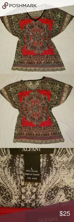 """Alfani Blouse Size large; red, black, cream and tan colors. NWOT. Tiny silver embellishments on the front. Elastic band around blouse is 15"""" wide and sits slightly below the breasts. There is a red tank top underneath blouse attached at shoulders.  30"""" from top to bottom. Alfani Tops Blouses"""