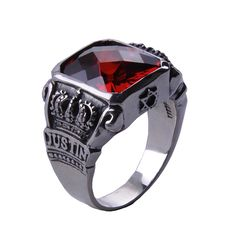 925 Sterling Silver The Vampire Diaries Vampire Knight Crown Ring Jewelry Gift Men's Ruby Ring $59.99