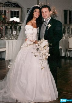 Teresa Giudice and Joe Giudice wedding photo. Not sure if she looks better or worse. Celebrity Wedding Photos, Celebrity Couples, Wedding Pics, Celebrity Weddings, Wedding Couples, Wedding Gowns, Dream Wedding, Celebrity Wedding Dresses, Teresa Giudice