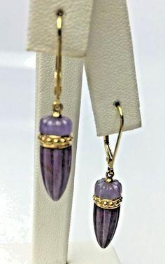 Carved Natural Lavender Jadeite Jade 14K Yellow Gold Dangle Earring #Nobrandname #DropDangle