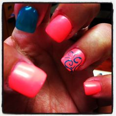 Fine bright summer nail designs photo art ideas morihati com colors color Nails Yellow, Pink Nails, Colorful Nail Designs, Cool Nail Designs, Coral, Turquoise, Nails Opi, Nail Nail, Nail Polish