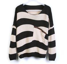 Green Stripe Bat Sleeve Sweater