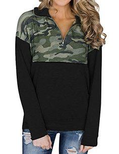 Half Zip Long Sleeve Camo Print Tunic Pullover Sweatshirt with Kangaroo Pocket S Printed Sweatshirts, Hoodies, Camouflage Tops, Half Zip Pullover, Camo Print, Blouses For Women, Women's Blouses, Long Sleeve Tops, Winter