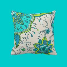 Turquoise & Lime Floral Pillow