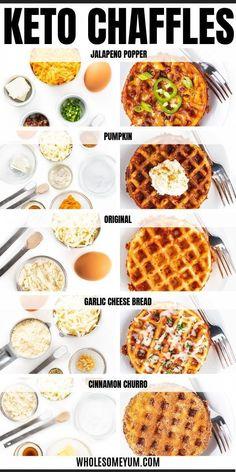 Keto Chaffles Recipe Ways!) + Ultimate Guide - All the secrets of how to make CHAFFLES perfectly! Includes the best basic keto chaffles recipe, sweet chaffles (cinnamon churro + pumpkin), savory chaffles (jalapeno popper + garlic parmesan), tips, tricks Ketogenic Recipes, Low Carb Recipes, Diet Recipes, Ketogenic Diet, Snacks Recipes, Brownie Recipes, Keto Diet Foods, All Recipes, Paleo Keto Recipes