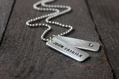 Double Skinny Aluminum Hand Stamped Dog Tag by RUSTICBRAND on Etsy, $25.00