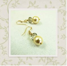 Elegant Cream Glass Pearl with Czech Crystal & 14ct Gold Fill Drop Earrings