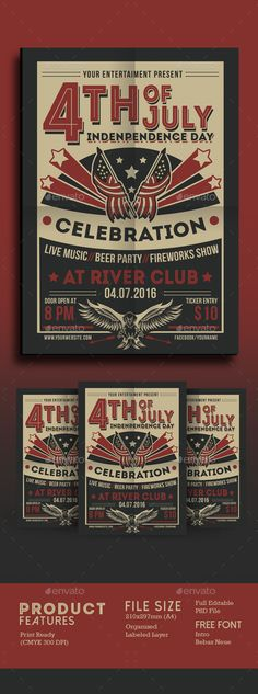 4th of July Vintage Style Flyer Design - Events Flyer Template PSD. Download here: http://graphicriver.net/item/4th-of-july-vintage-style/16569421?ref=yinkira