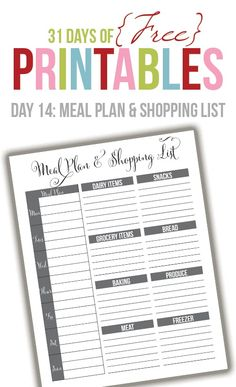 Welcome to Day 14 of the 31 days of free printables! Today's printable is a request from Kristin. She wanted a meal planner and grocery list to print in black and white. The index of each day can be found here as well as a link to a form where you can request to have …
