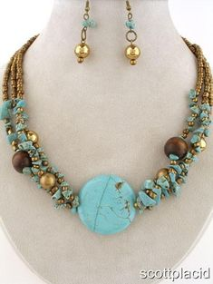 "CHUNKY MULTI STRAND 1.35"" WIDE RECONSTITUTED TURQUOISE WITH STONE CHIPS AND WOOD GOLD TONE NECKLACE SET    * If you need a necklace extender I have them for sale in my store.*         NECKLACE: 16"" L + 3"" EXT     CHARM: 1.35"" WIDE      HOOK EARRINGS           COLOR: TURQUOISE AND GOLD TONE  $20.99"