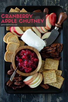 ou'll be amazed at how many ways you can use this easy Cranberry Apple Chutney. Filled with fall flavors, this savory spread adds a pop of flavor to pork, turkey or chicken and makes a killer secret ingredient on grilled cheese. Or top some baked brie with this chutney for a simple but elegant appetizer. Apple Chutney, Cranberry Chutney, Elegant Appetizers, Best Appetizers, Baked Brie, Roasted Meat, Chutney Recipes, Meat And Cheese, Lemon Recipes