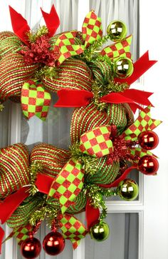 Deco Mesh Christmas Wreath  by SouthernCharmWreaths