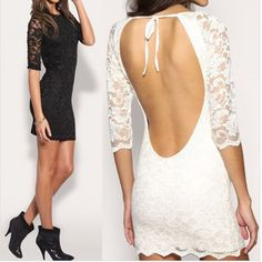 - Sexy backless lace party club dress for the modern fashionista - Beautiful lace design and open back offers a unique look - Great for any special event or night at the club - Available in 2 colors