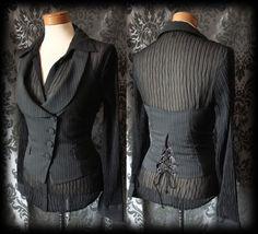 Gothic Black Pinstripe Halter Neck Lace Up Corset Waistcoat 10 12 Steampunk - £24.00