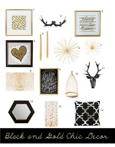 Loving these black, white, and gold home decor pieces from Hobby Lobby!  Perfect for the home | http://abeautifulrawr.com
