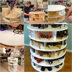 Storing shoes in your closet can take up a lot of room, but this lazy susan storage idea will keep your closet organized while saving space.  Check tutorial--> http://wonderfuldiy.com/wonderful-diy-lazy-susan-shoe-storage-rack/  #diy #storage
