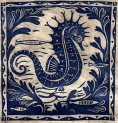Seahorse by UK artist Sarah Young. Woodblock