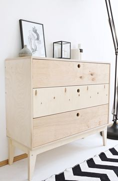 Minimalist, natural b&w interior. Meet our chest of drawers SEAL with three big drawers / Project and execution by Wood Republic / #design #interior #scandi #scandinavian #wood #wooden #plywood #solidwood #solid #furniture #modern #natural #minimalist #vintage #bookcase #drawer #drawers #bureau #chestofdrawers #cabinet #loft #console #hall #room #drawingroom #livingroom #carpet