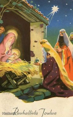 Vintage Christmas Nativity Card by Martta Wendelin ~ Orange Details Christmas Manger, Old Christmas, Retro Christmas, Vintage Christmas Cards, Christmas Holidays, Christmas Illustration, Illustration Art, Christmas Card Images, Nostalgic Images