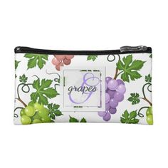 Gentle Grapes and Grapevines Cosmetic Bag - monogram gifts unique design style monogrammed diy cyo customize