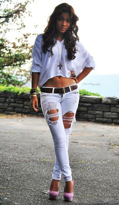 ripped jeans and a cute top with heels.  never goes wrong <3