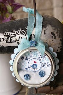 Four Seasons stamp set.  Winter Ornament from a canning jar ring.