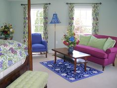 Property Photos The Fallen Spruce Suite by Susan Sargent,The Reluctant Panther Inn & Restaurant Beautiful Color Combinations, Color Combos, Color Of The Week, Traditional Furniture, Bed Styling, Cool Rooms, Upholstered Chairs, House Colors, Sweet Home