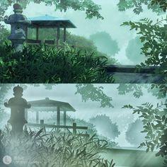 The Garden Of Words' scene rebuilt in software, Liu He Pretty Movie, The Garden Of Words, 3d Software, Location History, Scene, Artwork, Anime, Painting, Exhibit