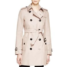 Burberry London Kensington Mid-Length Cotton Trench Coat ($1,795) ❤ liked on Polyvore featuring outerwear, coats, nude, cotton coat, cotton trench coat, burberry trenchcoat, mid length coat and burberry