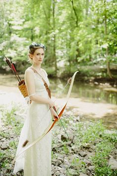 Is there anything cooler than a bride with a bow and arrow? photo by With Love and Embers via Bridal Musings Click through to see the rest of the Robin Hood inspired gorgeousness! Woodsy Wedding, Forest Wedding, Wedding Shoot, Wedding Blog, Dream Wedding, Wedding Day, Wedding Dresses, Farm Wedding, Wedding Couples