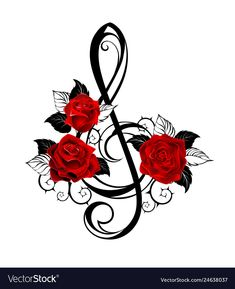 Music Tattoo Designs, Music Tattoos, Mangas Tattoo, Realistic Rose Tattoo, Rose Music, Note Tattoo, Black Leaves, Flower Tattoos, Red Rose Tattoos