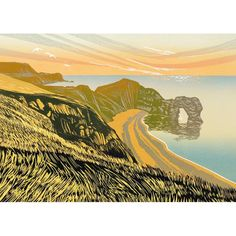 A fine art greeting card by printmaker Rob Barnes, blank inside for your own message. Our greeting cards are printed on beautiful, premium FSC-approved board. Each card is supplied with a ma Beach Scenes, Linocut Prints, Vintage Flowers, Landscape Art, Printmaking, Art Gallery, Fine Art, Nature, Art Cards