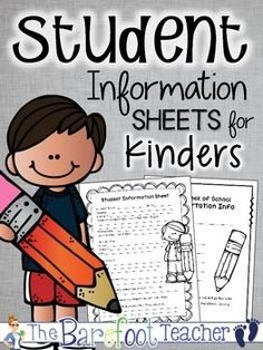 Back to School - Student Information Sheets for Kinders This FREEBIE is just what you need for your Kindergarten Orientation Day! 13 Student Information Sheets total are included so that you can mix and match to get just what you like. Welcome To Kindergarten, Beginning Of Kindergarten, Welcome To School, Beginning Of School, Kindergarten Teachers, Kindergarten Freebies, Back To School Night, 1st Day Of School, Sunday School