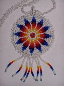 Vintage Cherokee Indian Native American Beaded Medallion Necklace ...