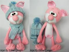 Розовый кот от Elena Gunger. Описание вязания Crochet Toys Patterns, Stuffed Toys Patterns, Doll Patterns, Toddler Toys, Baby Toys, Kids Toys, Knitted Cat, Funny Toys, Cat Pattern