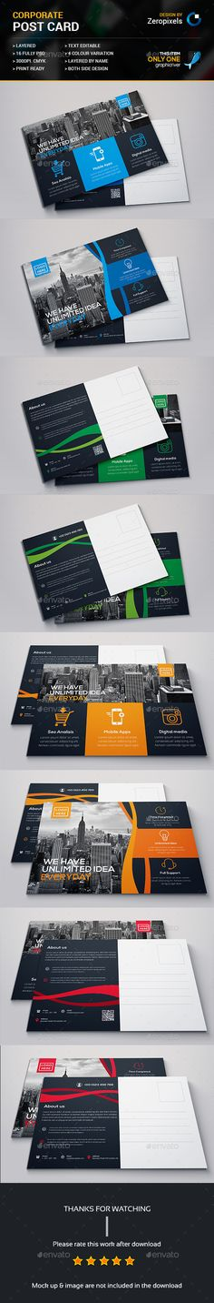 Post Card Design Template Bundle - Cards & Invites Print Template PSD. Download here: http://graphicriver.net/item/post-card-bundle/16730369?s_rank=9&ref=yinkira