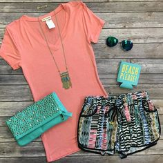 These New Water Color Wished shorts are perfection! Cute,Comfy, and they have POCKETS! Perfect for all day, gym, and of course the Beach! $24 Basic Tee $9 Koozie $7.50 #beach #gym #onlineboutique #onlineshopping #vacay