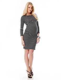 A Pea in the Pod Collection: BCBG 3/4 Sleeve Striped Maternity Dress