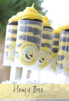 What Will It Bee? Gender Reveal Party Ideas: Honey Bee Brownie Push Pop #BigDot #HappyDot #Spring
