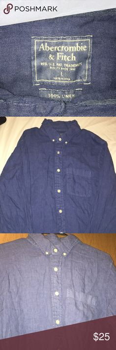 Abercrombie & Fitch Men's  Linen Long sleeve Men's Linen Abercrombie & Fitch Long Sleeve Button Down . Gently Used In very good condition . No stain, rips , or tears . Light blue . Could use a bit or ironing . Size Large Abercrombie & Fitch Shirts Tees - Long Sleeve