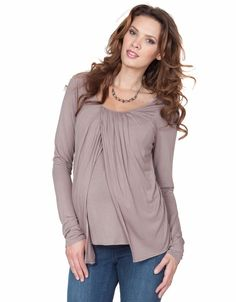Atlanta - Breastfeeding Draped Top Stone - Nursing Tops - Nursing
