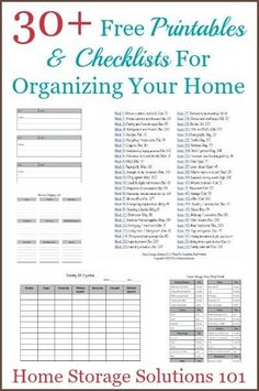 30+ free printables and checklists for organizing your home, courtesy of Home Storage Solutions 101