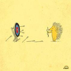 Porcupine practices his archery skills...practice makes perfect!
